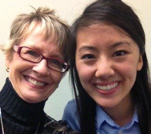 Happy interviewing applicant with Dr. Jane Ann Munroe, Director of Admissions