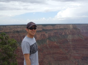 """Optometry affords me the time to pursue my love of travel. Here I am at the Grand Canyon."""