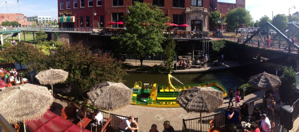 A panoramic of the downtown Oklahoma City canals, AKA Bricktown.