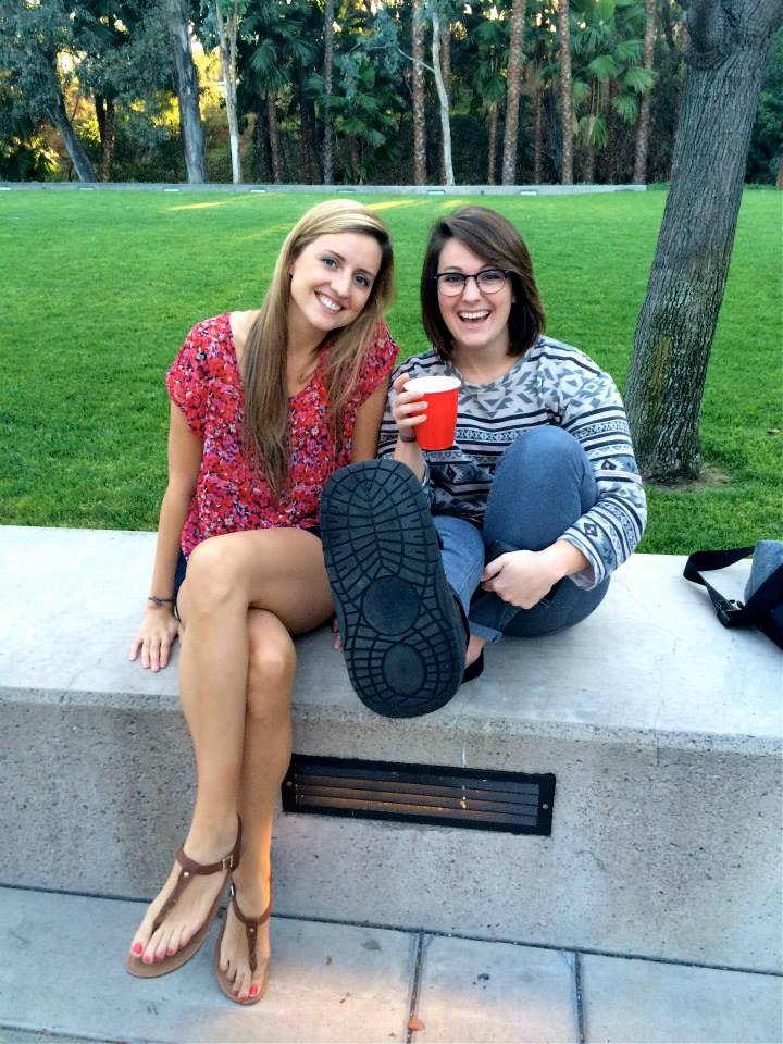 """Fellow student Bri and I share a drink on our beautiful campus as we await the start of the talent show."""
