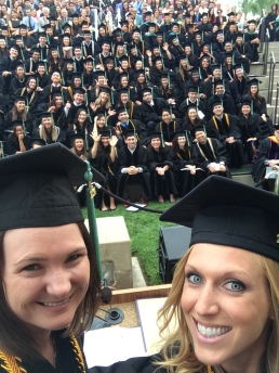 Valedictorians from the Class of 2014, Lindsay Wettergreen and Amy Aldrich steal a selfie during Commencement!