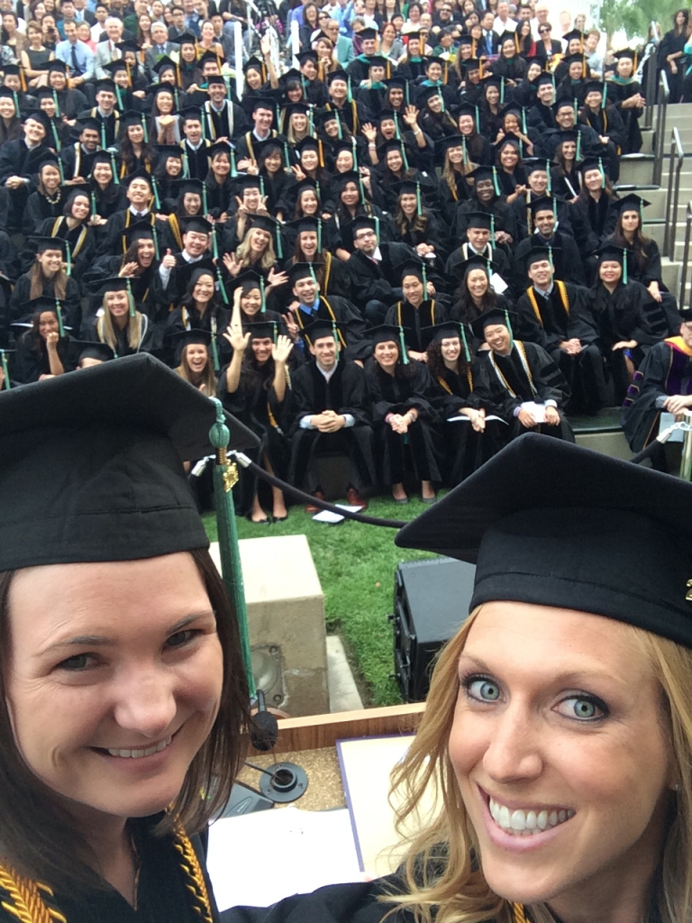 Valedictorians from the Class of 2014, Amy Aldrich (left) and Lindsay Wettergreen steal a selfie during Commencement!