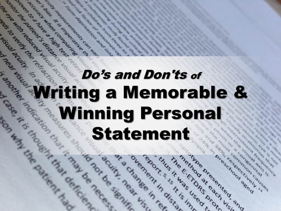do u2019s and don u2019ts of writing a memorable  u0026 winning personal