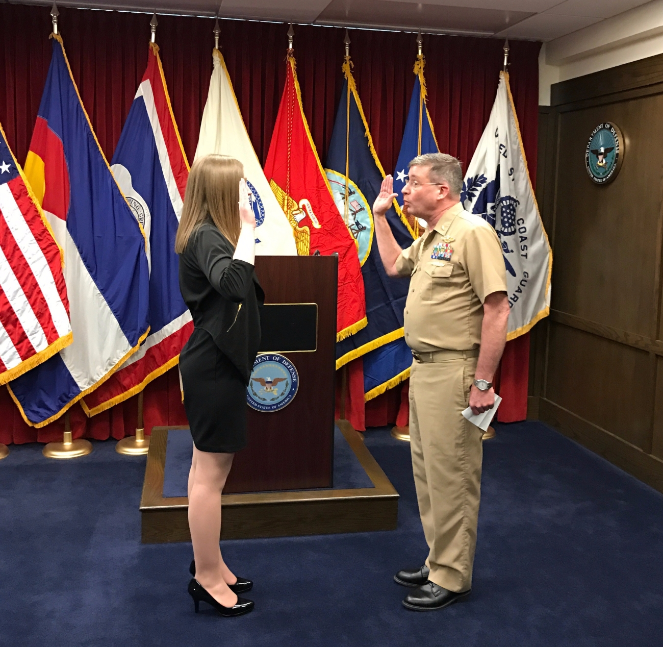 Swearing in and taking the oath of office and officially becoming Ensign Courtney Park