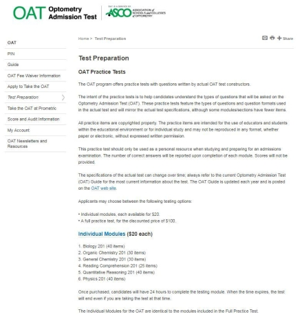 Photo of ADA website with practice tests