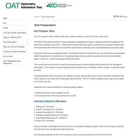Photo of ADA website with practice tests