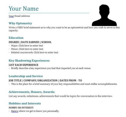 Resume Cv For My Application To Optometry School Optometry